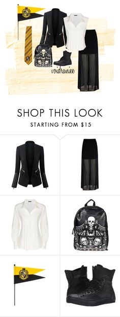 """""""Hufflepuff"""" by voidraniee on Polyvore featuring Mela Loves London, Donna Karan, Loungefly and Converse"""