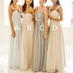 Popular Mismatched Simple Chiffon Floor-Length Custom Make High Quality Affordable Bridesmaid Dresses, WG076 The long bridesmaid dresses are fully lined, 4 bones in the bodice, chest pad in the bust,