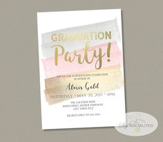 Pink & Gold Brush Strokes Graduation Invitation | Instant Download TEMPLATE | Easy to edit Text PDF by ShySocialites on Etsy