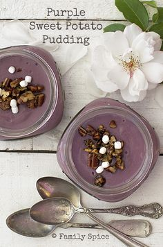 Thanksgiving Dessert: Purple Sweet Potato Pudding - Family Spice #Anthropologie #PinToWin