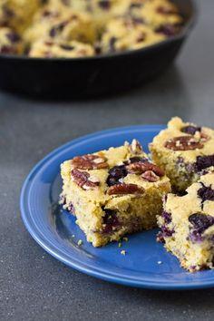 Blueberry-pecan cornbread. Flavor combination for next bake sale.