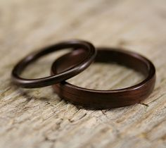 wooden wedding bands from stout woodworks. #wooden #rings #wedding