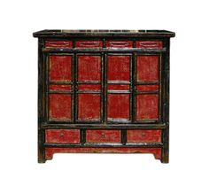 Chinese Rustic Black & Red Tall Console by GoldenLotusAntiques
