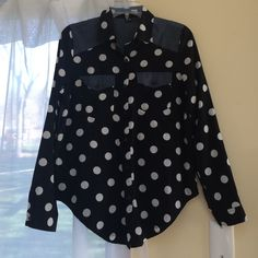 Polka dot and denim button down Super cute, fun, and original! Back of the shirt is a cotton demon like fabric, while sleeves and front are white polka dots in a black background Forever 21 Tops Button Down Shirts