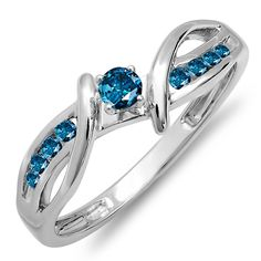 0.25 Carat (ctw) 14k White Gold Blue Diamond Crossover Split Shank Bridal Promise Engagement Ring 1/4 CT ** See this great image  : Promise Rings