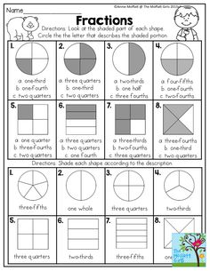 Fractions- Look at the shaded part of each shape and circle the correct answer. Fun math activity worksheets for second grade!