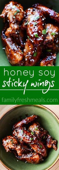 Honey Soy Sticky Chicken Wings - FamilyFreshMeals.com - Such a great recipe -