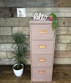 A filing cabinet makeover. - Home Revival Interiors Guest Room Office, Home Office Space, Home Office Design, Home Office Decor, Home Decor, Vintage Office Decor, Office Ideas, Painted File Cabinets, Filing Cabinets