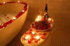 YOU must have planned a romantic dinner with your partner & what can be better than a bathroom decorated with lots of candles , flowers, rose petals etc. ROMANCE will … Romantic Bath, Romantic Night, Romantic Moments, Romantic Dinners, Romantic Ideas, Romantic Bedrooms, Romantic Decorations, Romantic Surprise, Heart Day