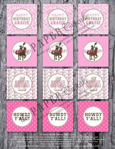 Printable Party Toppers  Giddy Up Lil by papercupcakedesigns, $10.00