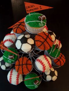 Sports Themed Cupcakes - should be easy enough to do this with some sprinkles and BC.