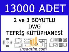 Autocad 2d ve 3d Tefriş Kütüphanesi (13.000 Adet) - dwg