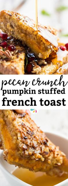 Are you looking for a seasonal brunch treat to cozy up with this weekend? Try this pumpkin stuffed french toast recipe! It's made with Greek yogurt for an extra scrumptious cheesecake inspired filling. The crunchy pecan crust is amazing! Serve it with plenty of maple syrup for a breakfast your family will request you to make again and again. It's the perfect fall recipe for Thanksgiving, Halloween or just because you want to celebrate the season.
