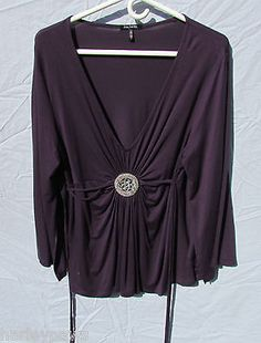 Daisy Fuentes Purple Plum V Neck Shirt, Size XL NWOT