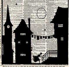 Vintage Book Art Print - Fairytale Silhouette