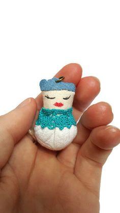 Steampunk blue creature pendant - fabric pendant - tiny creature - cute necklace - quirky pendant - cute pendant -creature charm - OOAK
