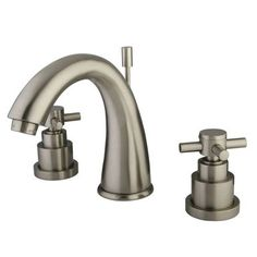 """Kingston Brass Elinvar Two Handle 8"""""""""""""""" to 16"""""""""""""""" Widespread Lavatory Faucet with Brass Pop-up - Satin Nickel"""