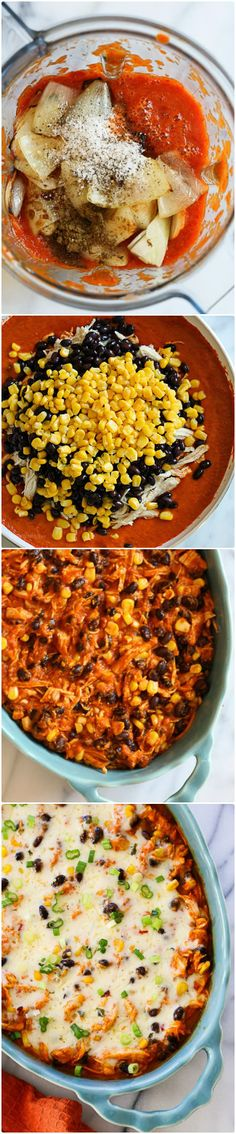 There are numerous versions for casserole. This one is made with spiralized sweet potatoes, chicken, corn and black beans. The cream of crops is spicy Mexican sauce with main components – guajillo pepper and pepper jack cheese. This casserole turns your mind into different side and brings unbelievable energy.