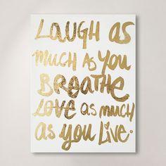 "House of Hampton ""Laugh/Love"" Gold Foil Textual Art on Canvas"