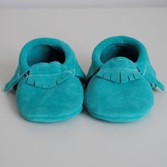 baby moccasins / electric teal suede