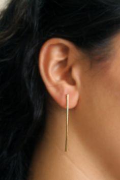 Minimalist Long Gold Bars Earrings  Slim Bar Posts by meytalbarnoy
