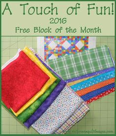 A Touch of Fun! Free 2016 Block of the Month by Benita Skinner through Quilty Finds