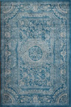 Amazon.com - Light Blue Traditional French Floral Wool Persian Area Rugs 5'2 x 7'3 - Machine Made Rugs (affiliate)