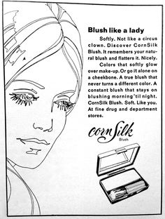 346 best vintage beauty images retro makeup vintage beauty Late 1960s Makeup cornsilk powder blush ad 1969