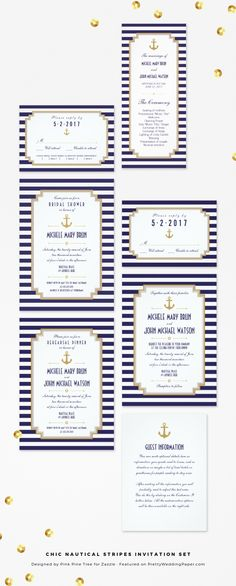Chic Nautical Stripes Navy Wedding Invitation Collection designed by Pink Pine Tree.