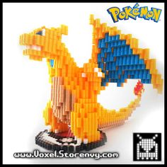 3D Large Detailed Charizard (Nintendo, Pokemon) perler beads by Voxel (6 inches tall and over 8 inches long)
