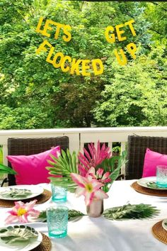 Take a look at this fun flamingo birthday party! The table settings are wonderful! See more party ideas and share yours at CatchMyParty.com  #catchmyparty #partyideas #flamingos #flamingoparty #girlbirthdayparty #summerparty