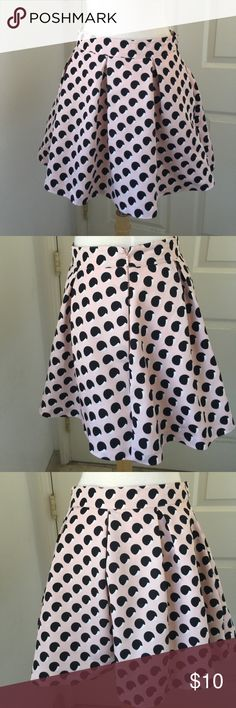 "Forever21 skirt Champagne pink/black and cream polka dot skirt. 13 1/2""long, 27"" waist, lining with a half slip netting, see last pic. Worn once like new Forever 21 Skirts Circle & Skater"