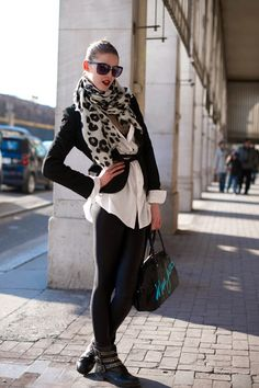 nylon leggings with blaser and leopard scarf.