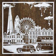 Rainy London City Escena Papercut