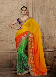 http://www.sareesaga.in/index.php?route=product/product&product_id=12774  Style	:	 Casual	 Shipping Time	:	7 to 9 Days Occasion	:	Casual	 Fabric	:	Faux Chiffon Colour	:	Green Yellow	 Work	:	Patch Border Work  For Inquiry Or Any Query Related To Product,  Contact :- +91 9825192886