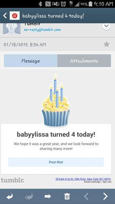 Awww, today is my 4th birthday on Tumblr. Haven't been on there in a while.