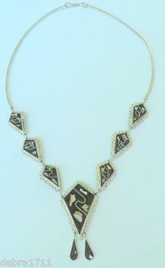 "Vintage Handwrought Alpaca Mexico Onyx Abalone Center Drop Necklace 18"" Estate | eBay"