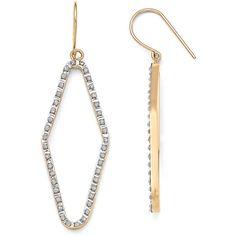 14K 0.010 ct. Diamond Fascination Shepherd Hook Hoop Earrings (430 BRL) ❤ liked on Polyvore featuring jewelry, earrings, gold, 14k diamond earrings, 14 karat gold earrings, 14 karat gold jewelry, diamond hoop earrings and earring jewelry