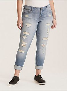 adfddc188f9 Premium Stretch Boyfriend Jeans - Light Wash with Ripped Destruction