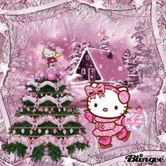 Hello Kitty Christmas Backgrounds | entry to mitzi s christmas tree challenge http blingee com challenge ...