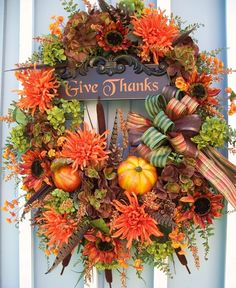 """Thanksgiving wreath """"Give Thanks"""". 🙏 🙏 Thanksgiving is just around the corner. Thanksgiving Wreaths, Autumn Wreaths, Thanksgiving Decorations, Holiday Wreaths, Happy Thanksgiving, Thanksgiving Celebration, Vintage Thanksgiving, Wreath Fall, Spring Wreaths"""