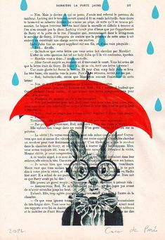 Mixed media prints posters Illustration Drawing painting acrylic digital Giclee Art Holiday Decor Gifts: Rain Rabbit. $12.00, via Etsy.