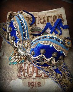 Tribal Fusion Bra Royal Blue Gold Cleopatra Bellydance Costume Dark by DancingTribe