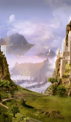 Pale, the second moon. Breathtaking Fantasy Landscapes & Scenery | Fantasy Inspiration