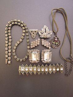 Vintage Rhinestone Jewelry Lot Destash-Earrings, Bracelet, Shoe Clips, Pendant.