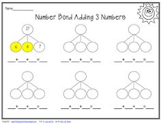 Number bond adding 3 numbers freebie. Using a highlighter to highlight doubles or make a ten facts.