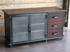 Ellis Console with Drawers   Vintage Industrial Furniture