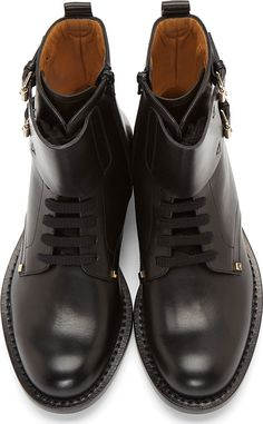 Valentino Black Leather Modified Combat-Monk Boots