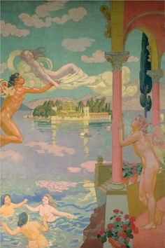 Maurice Denis - Panel 2-Zephyr transporting Psyche to island of delight