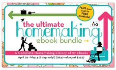 The Ultimate Homemaking eBook & eCourse Bundle | This super discounted eBook and eCourse bundle includes an overload of amazing resources – 97 total! You'll find products for motherhood, fitness, homeschooling, blogging, budgeting, cooking, parenting, education, cleaning, holidays, special events, beauty, and much more!  A $640 value for just $29.97 – for the next 6 days only!